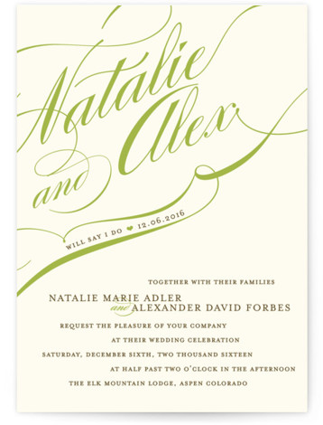 This is a landscape, portrait bold typographic, bold and typographic, classical, elegant, formal, traditional, green, ivory Wedding Invitations by annie clark called Winter Flourish with Standard printing on Signature in Classic Flat Card format.