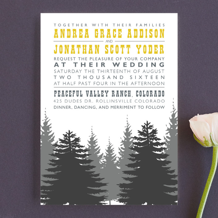 """Enchanted Forest"" - Rustic, Destination Wedding Invitations in Mustard by TwoBirds Paperie."