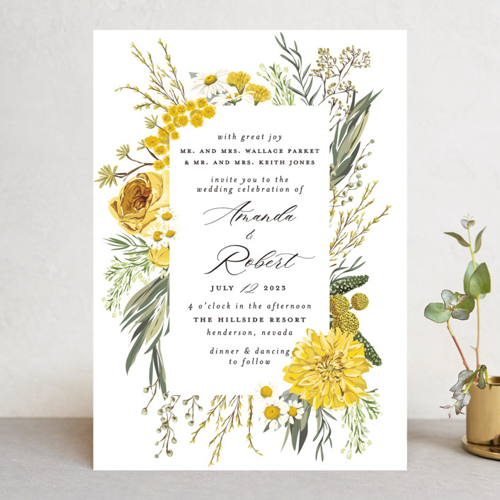 """Organic Florals"" - Wedding Invitations in Honey by Susan Moyal."