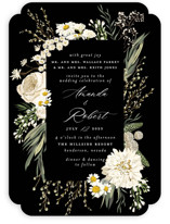 This is a black wedding invitation by Susan Moyal called Organic Florals with standard printing on signature in standard.