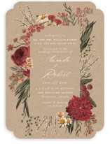 This is a red wedding invitation by Susan Moyal called Organic Florals with standard printing on signature in standard.