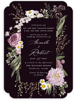 This is a purple wedding invitation by Susan Moyal called Organic Florals with standard printing on signature in standard.