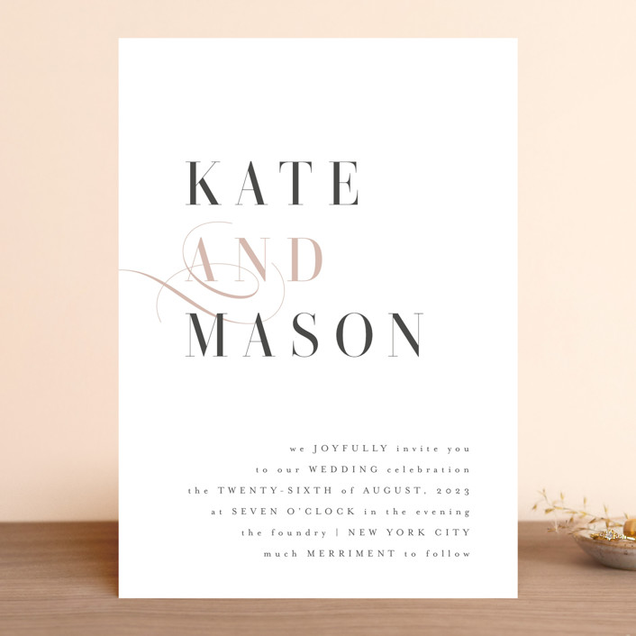 """Foundry"" - Wedding Invitations in Rose Quartz by Kristie Kern."