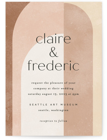 This is a brown wedding invitation by Kelly Schmidt called Arches with standard printing on signature in standard.