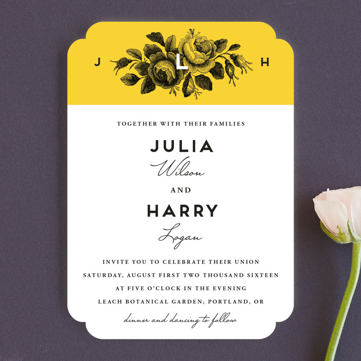 """Bouquet Monogram"" - Wedding Invitations in Sunflower by Chryssi Tsoupanarias."