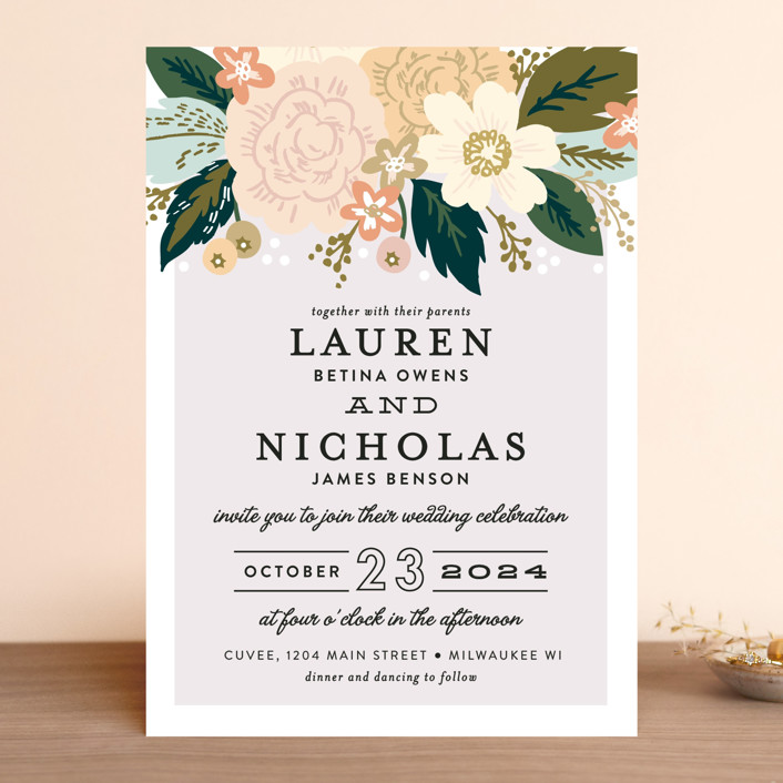 """Classic Floral"" - Floral & Botanical Wedding Invitations in Spring Blush by Alethea and Ruth."