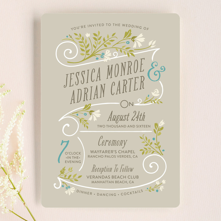 """Delicate Blooms"" - Rustic Wedding Invitations in Stone by GeekInk Design."