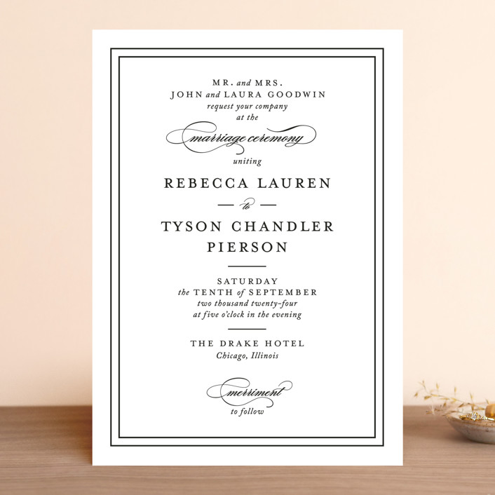 """""""Eloquence"""" - Traditional, Classical Wedding Invitations in Vanilla by Kimberly FitzSimons."""