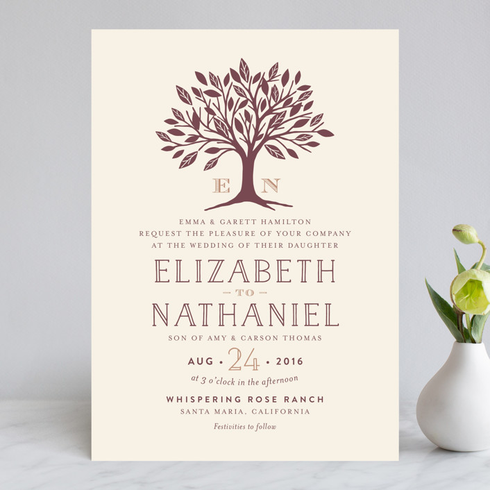 """Enchanted"" - Monogrammed, Rustic Wedding Invitations in Bark by Griffinbell Paper Co.."