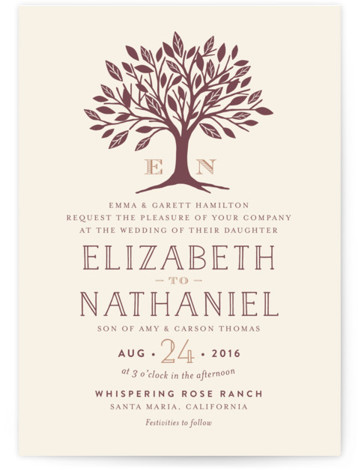 This is a portrait botanical, illustrative, metallic, monogrammed, rustic, brown Wedding Invitations by Griffinbell Paper Co. called Enchanted with Standard printing on Signature in Classic Flat Card format. A simple, graphic sweetheart tree in rose gold is the focal point ...