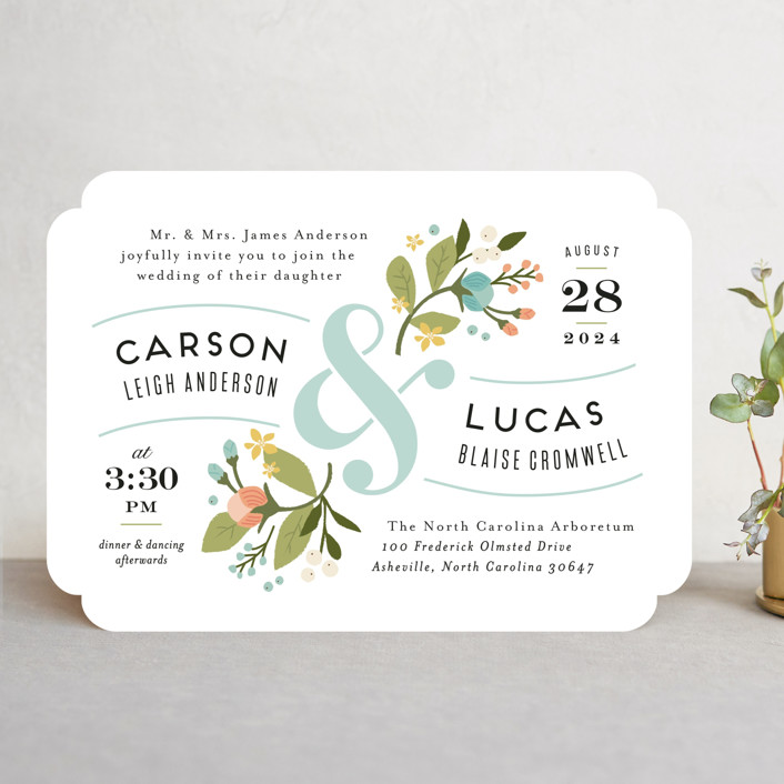"""Floral Ampersand"" - Rustic Wedding Invitations in Sea Breeze by Jennifer Wick."