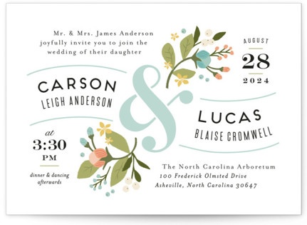 Floral Ampersand Wedding Invitations