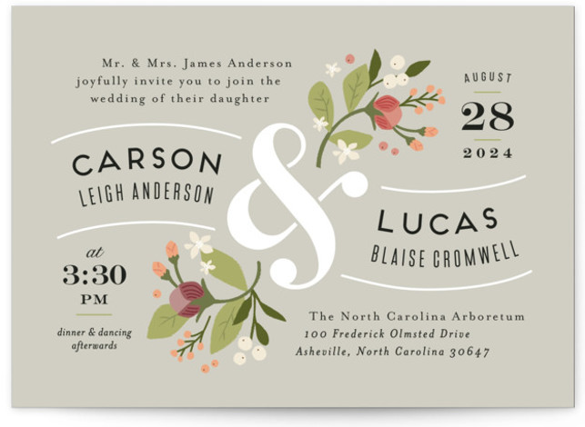 This is a landscape botanical, floral, rustic, vintage, grey Wedding Invitations by Jennifer Wick called Floral Ampersand with Standard printing on Signature in Classic Flat Card format. Darling peonies flowing from an ampersand along with beautifully designed typography rule this ...