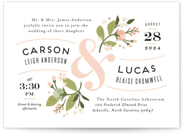 This is a landscape botanical, floral, rustic, vintage, pink Wedding Invitations by Jennifer Wick called Floral Ampersand with Standard printing on Signature in Classic Flat Card format. Darling peonies flowing from an ampersand along with beautifully designed typography rule this ...
