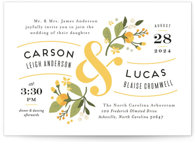 This is a landscape botanical, floral, rustic, vintage, yellow Wedding Invitations by Jennifer Wick called Floral Ampersand with Standard printing on Signature in Classic Flat Card format. Darling peonies flowing from an ampersand along with beautifully designed typography rule this ...
