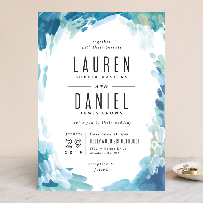"""""""Gallery Abstract Art"""" - Bohemian Wedding Invitations in Ocean by Alethea and Ruth."""
