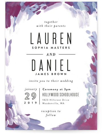 This is a portrait bohemian, painterly, purple Wedding Invitations by Alethea and Ruth called Gallery Abstract Art with Standard printing on Signature in Classic Flat Card format. This wedding invite features abstract art framing clean typography.