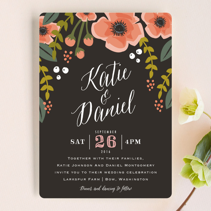 """Garden Blooms"" - Floral & Botanical, Rustic Wedding Invitations in Peach by Karidy Walker."
