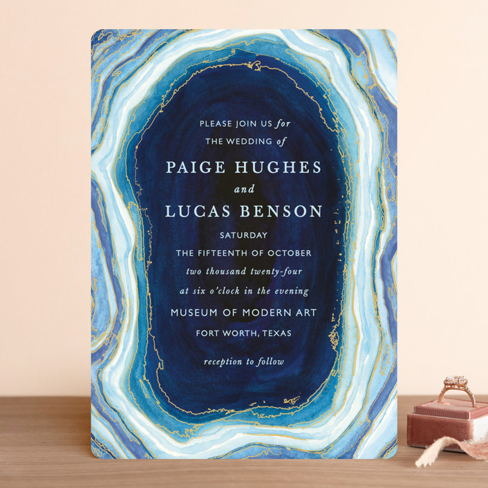 """Gilt Agate"" - Bohemian, Rustic Wedding Invitations in Navy by Kaydi Bishop."