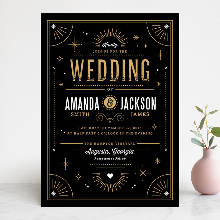 """Golden Glitz"" - Vintage Wedding Invitations in Golden by Kristen Smith."