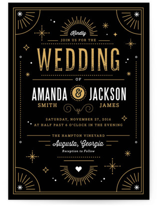Golden Glitz Wedding Invitations By Kristen Smith