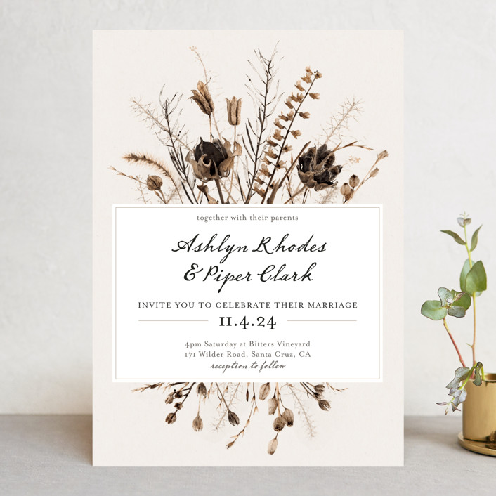 """Gone To Seed"" - Rustic Wedding Invitations in Taupe by Honeybunch Studio."
