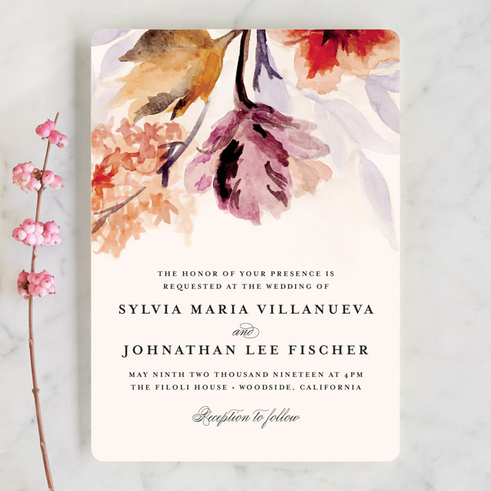 """Grecian Floral"" - Wedding Invitations in Tulip by Olivia Kanaley."