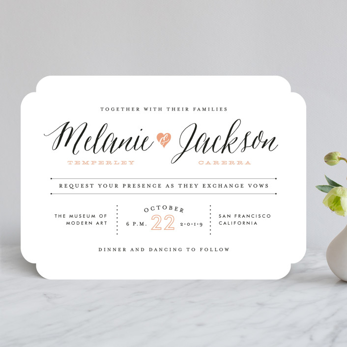 """""""Heartbeat"""" - Whimsical & Funny Wedding Invitations in Petal by Sarah Curry."""