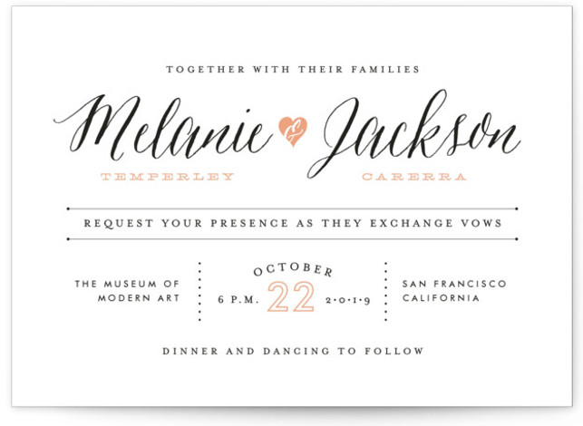 This is a landscape bold and typographic, whimsical, pink Wedding Invitations by Sarah Curry called Heartbeat with Standard printing on Signature in Classic Flat Card format. This invitation features the couple's names in elegant calligraphy script and a sweet heart ...