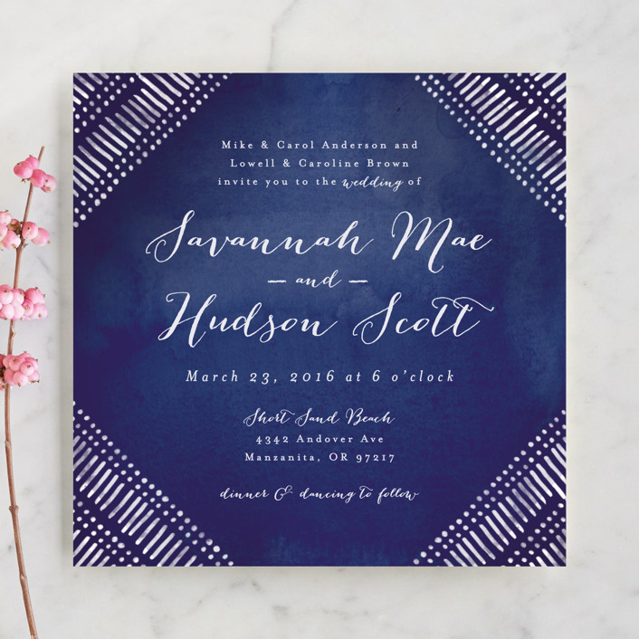 """Indigo Print"" - Bohemian Wedding Invitations in Navy by Pistols."