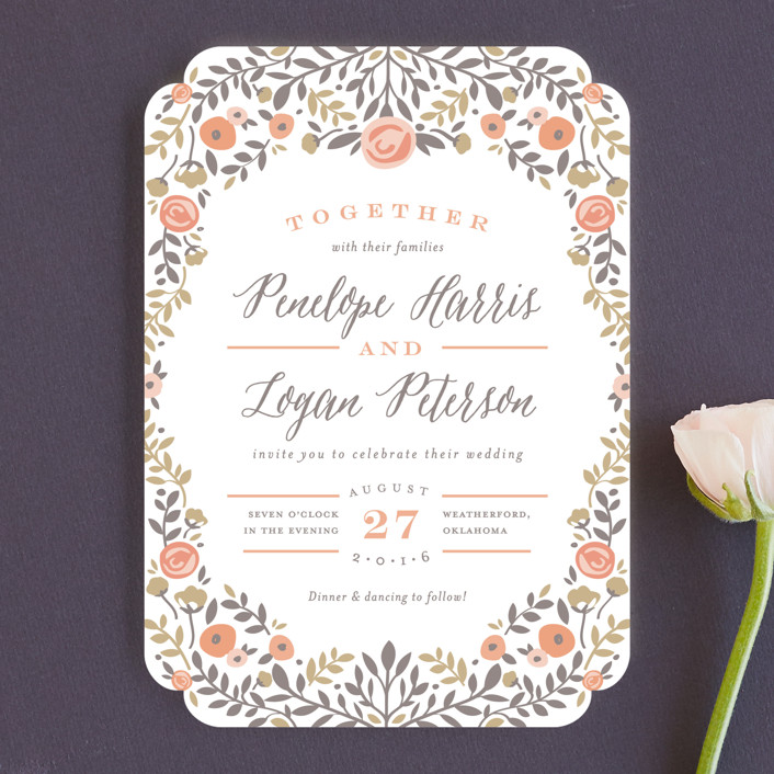 """""""Lover's Floral Frame"""" - Wedding Invitations in Coral by Andrea Snaza."""