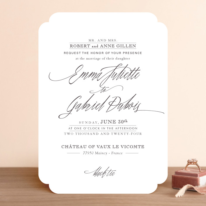 """Opulence"" - Formal, Elegant Wedding Invitations in Snow Caps by Design Lotus."