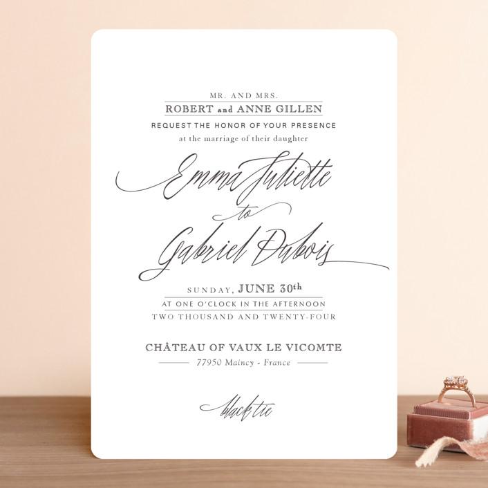 """Opulence"" - Formal, Elegant Wedding Invitations in Snow Caps by Design Lotus."