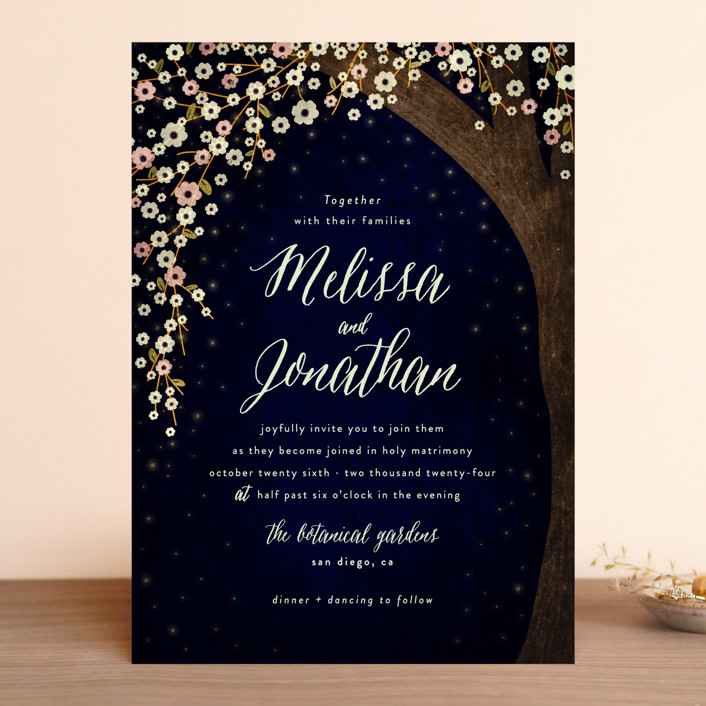 """""""Outside"""" - Rustic Wedding Invitations in Navy by Rebecca Bowen."""
