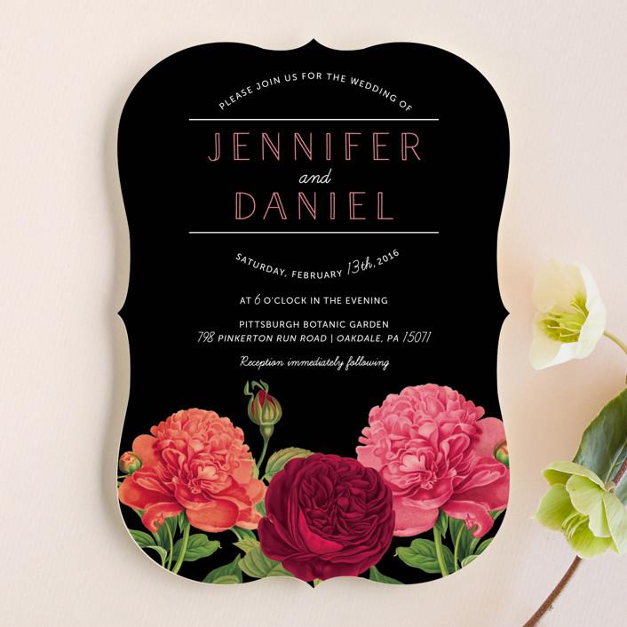 """Romantic Botanic"" - Wedding Invitations in Noir by Penelope Poppy."