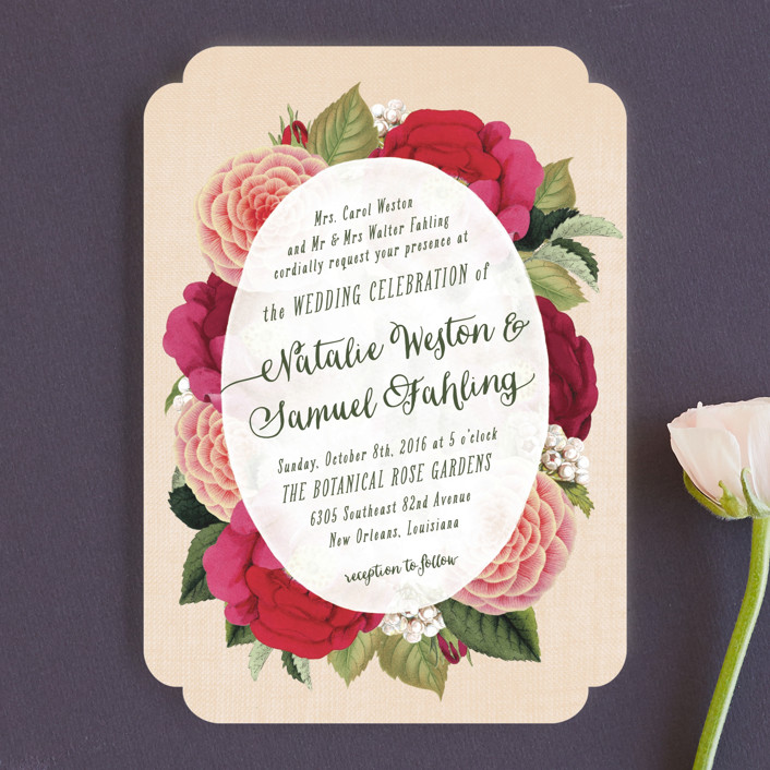 """Vintage Botanicals"" - Wedding Invitations in Soft Peach by Hooray Creative."