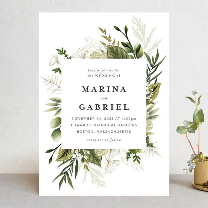"""""""Enchanted Greenery"""" - Wedding Invitations in Frost by Susan Moyal."""