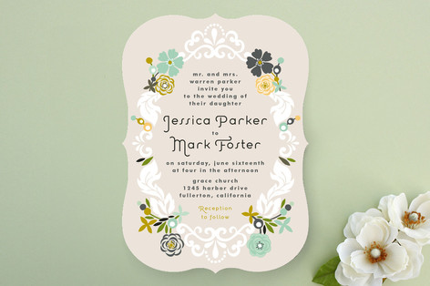 floral frame wedding invitations by alethea and ru | minted, Wedding invitations