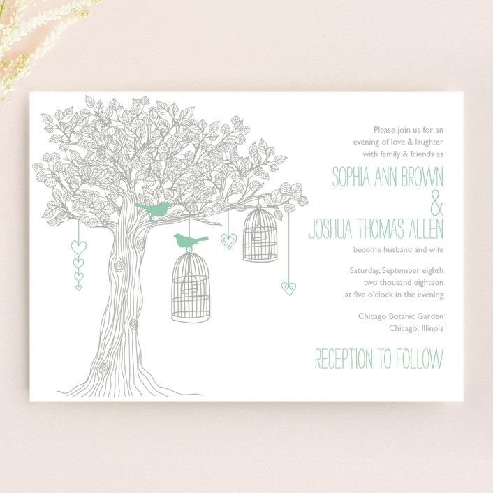 """Love Let Loose"" - Whimsical & Funny, Rustic Wedding Invitations in Seaglass by Paisley Tree Press."