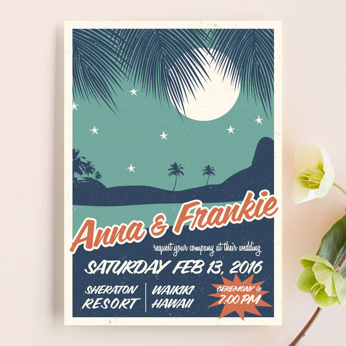 retro hawaii wedding invitations by coco and ellie design | minted,