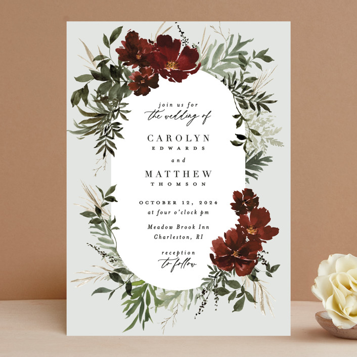 """""""harvest"""" - Wedding Invitations in Cabernet by Everett Paper Goods."""