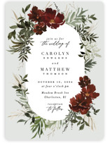 This is a red wedding invitation by Everett Paper Goods called harvest with standard printing on signature in standard.
