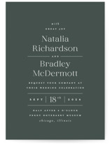 This is a green wedding invitation by Carolyn Nicks called Swanky with standard printing on signature in standard.