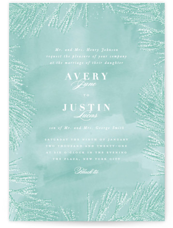 This is a portrait green Wedding Invitations by Creo Study called Frosty chic with Standard printing on Signature in Classic Flat Card format. This wedding invite featuring frosted pines sets the mood for a winter ceremony