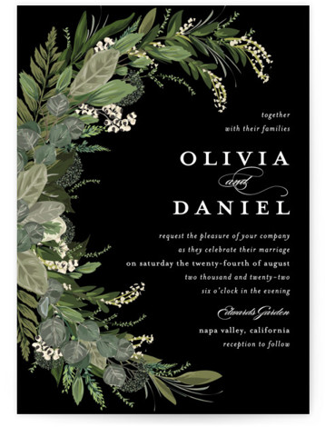 This is a portrait botanical, black Wedding Invitations by Susan Moyal called Side Swept with Standard printing on Signature in Classic Flat Card format. Greenery, leaves, and vines sweep around the wedding details