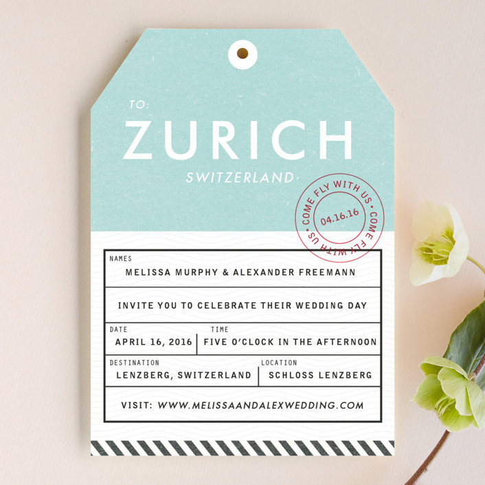 """""""Come Fly with Us"""" - Modern, Destination Wedding Invitations in Turquoise by Paper and Parcel."""