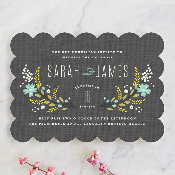 """""""Botanical Blooms"""" - Floral & Botanical, Rustic Wedding Invitations in Mint by Kristie Kern."""