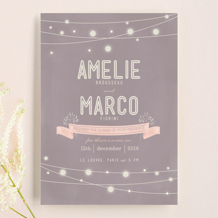 """Paris Lights"" - Rustic, Bohemian Wedding Invitations in Violet by Lori Wemple."