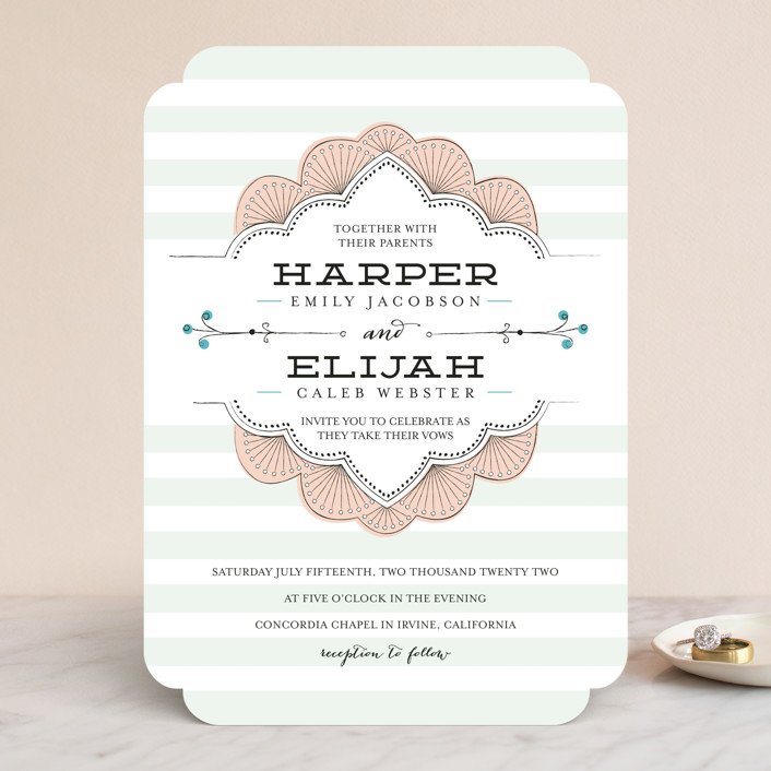 """""""Striped Sweet Nothings"""" - Classical, Modern Wedding Invitations in Romantic by Frooted Design."""