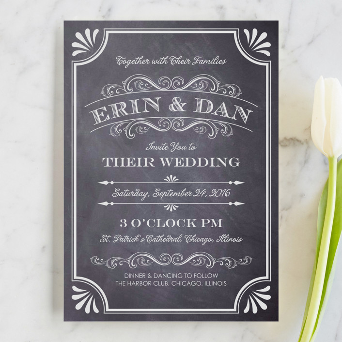 A Chalkboard Marriage Rustic Vintage Wedding Invitations In By Erin Deegan